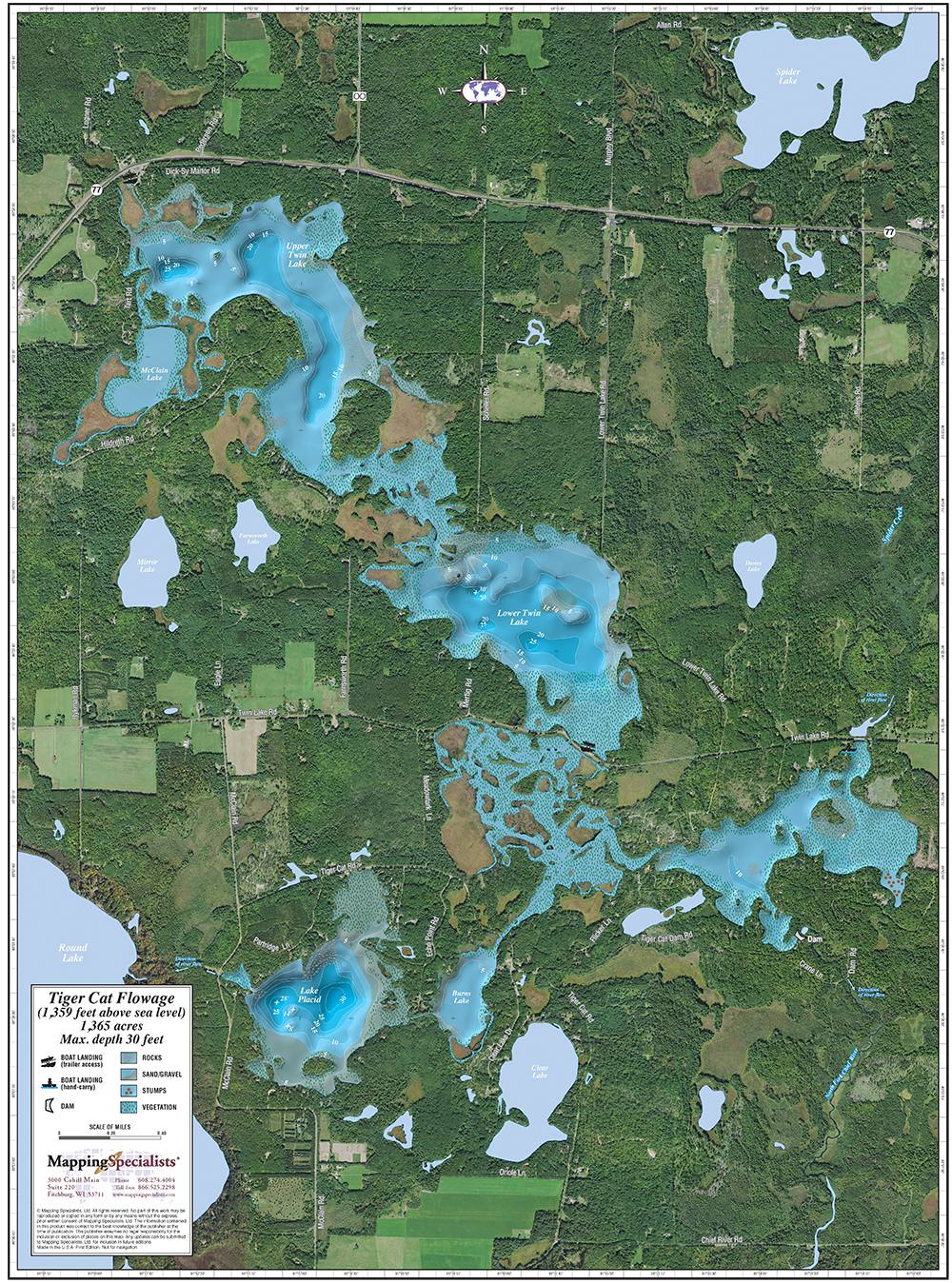 Tiger Cat Flowage Enhanced Wall Map on