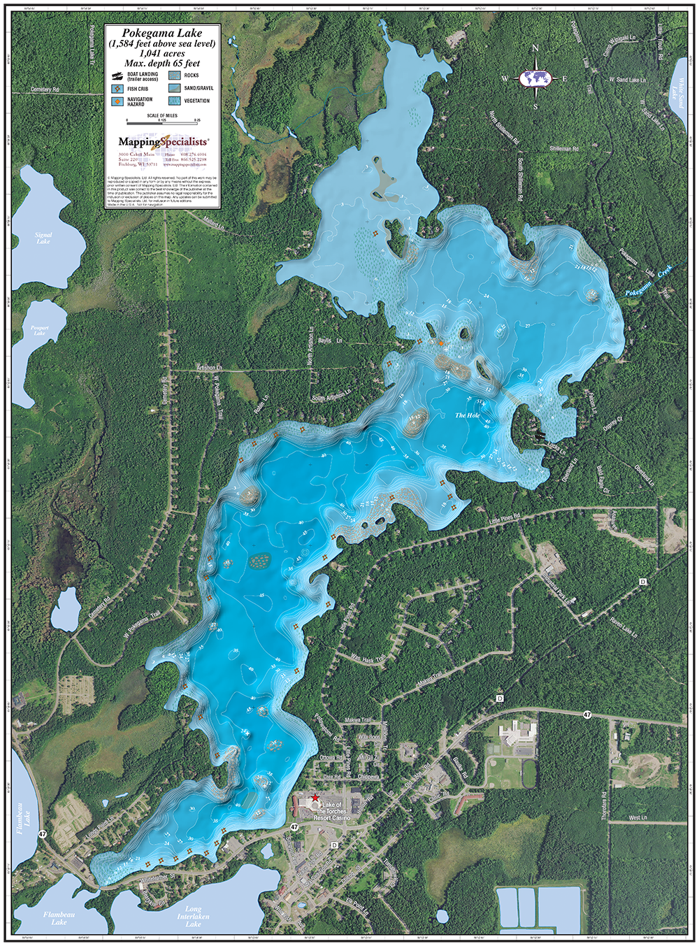Pokegama Lake Enhanced Wall Map - Pokegama lake map