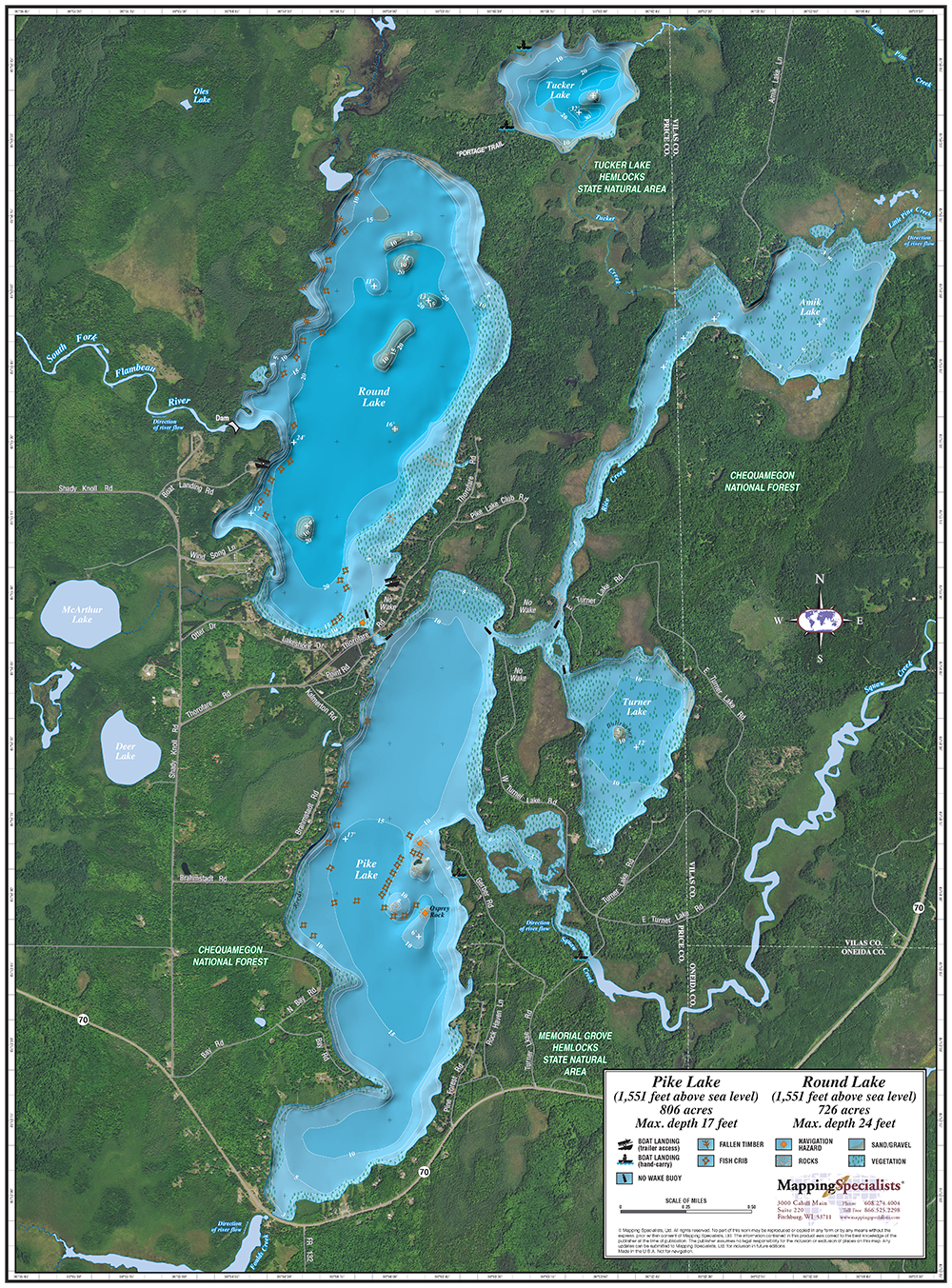 Pike and Round Lakes Enhanced Wall Map