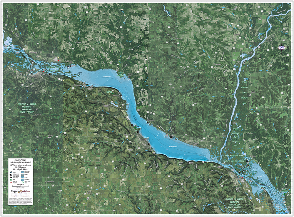 Mississippi River (Pool 4)/Lake Pepin Enhanced Wall Map on large minnesota map lakes rivers, minnesota lakes and rivers, just minnesota map with rivers, map of all lakes mn,