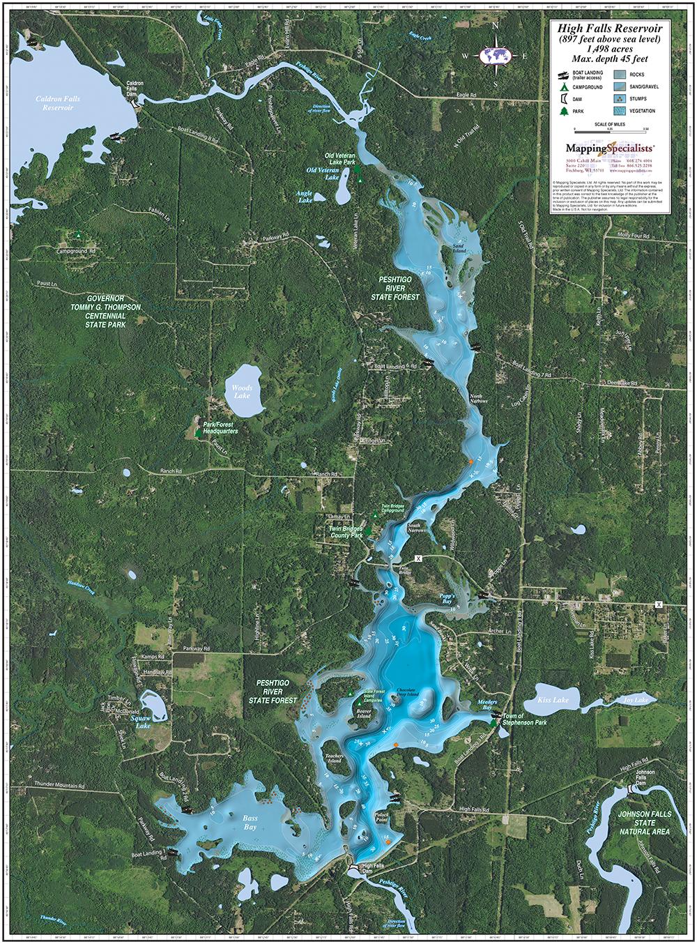 high falls reservoir enhanced wall map