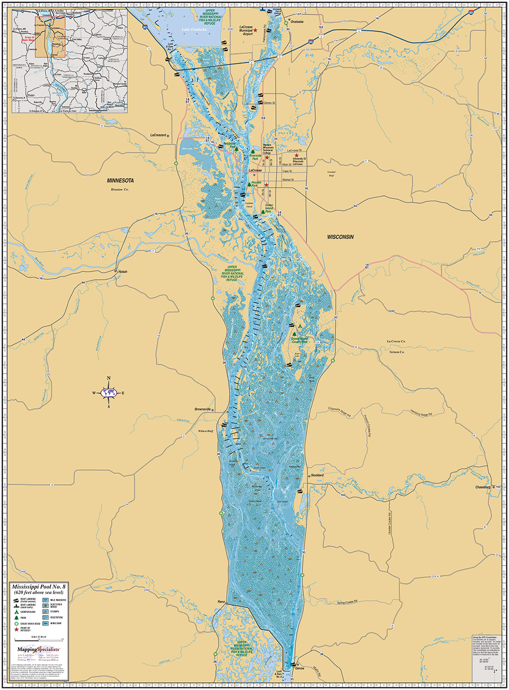 Mississippi River Wisconsin Map Mississippi River (Pool 8) Wall Map