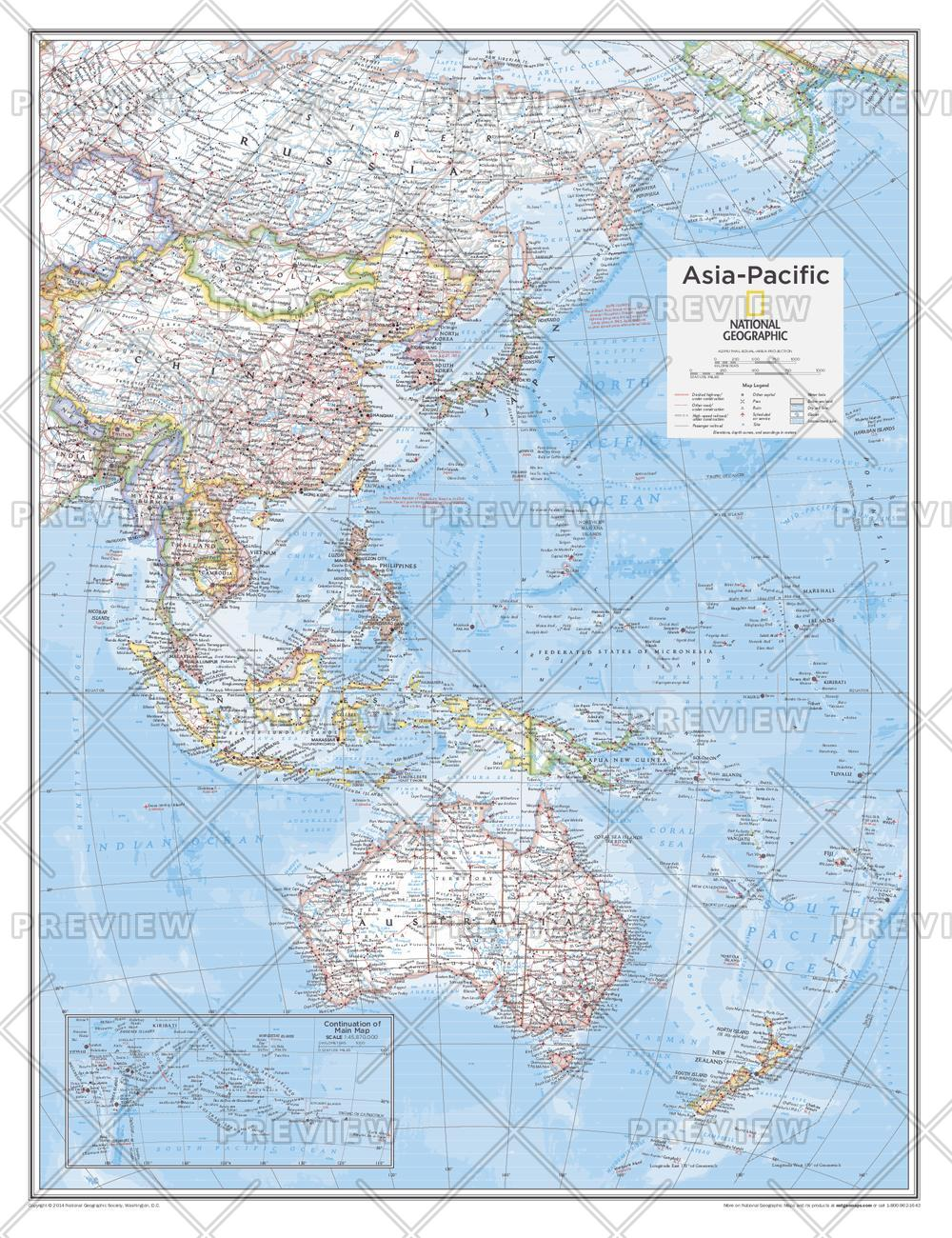 Map Of The Asia Pacific.Asia Pacific Wall Map