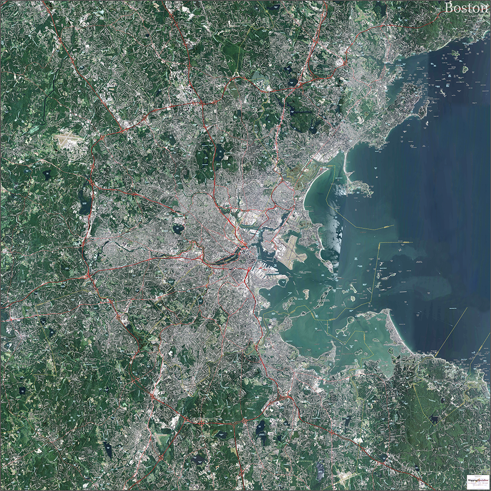 Boston Topo Map With Aerial Photography