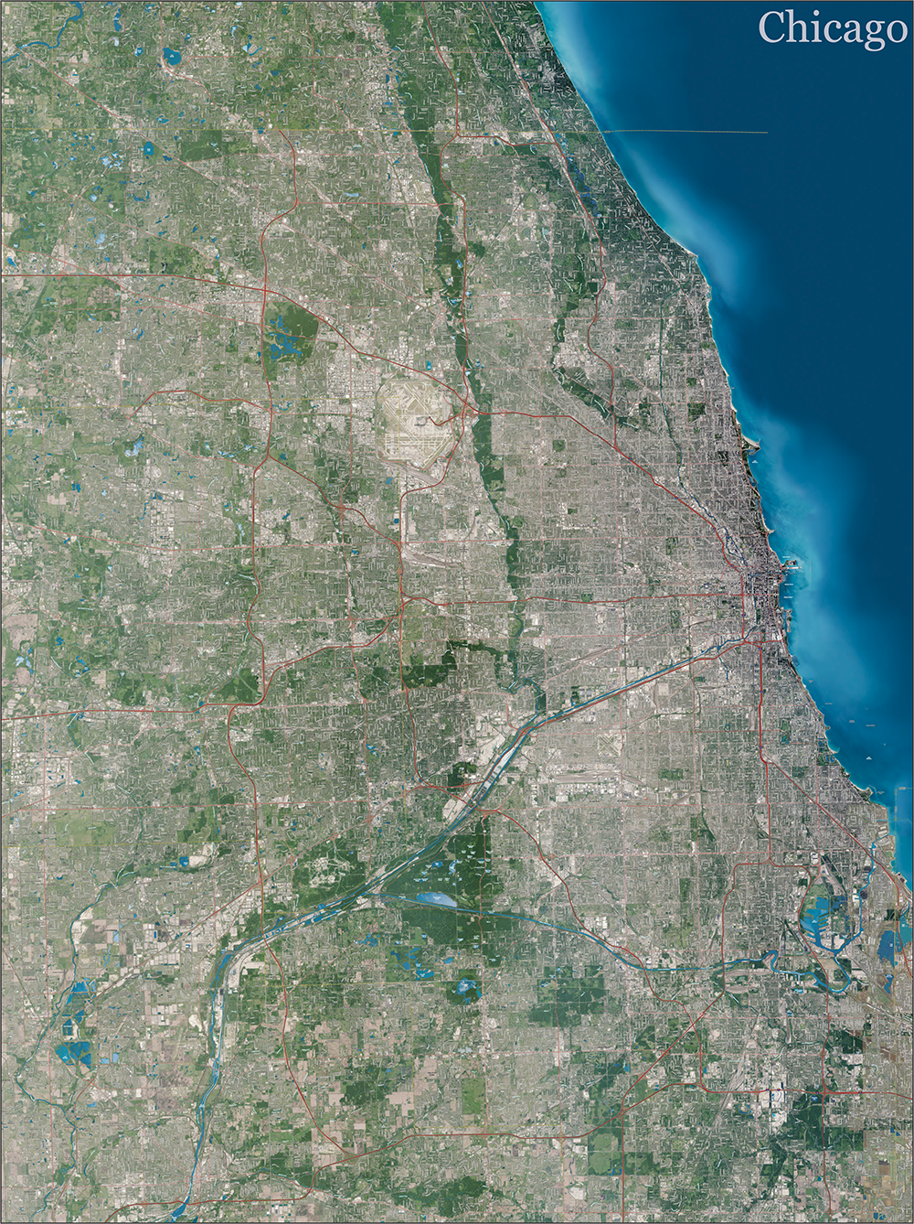 Topographic Map Chicago Chicago Topo Map with Aerial Photography