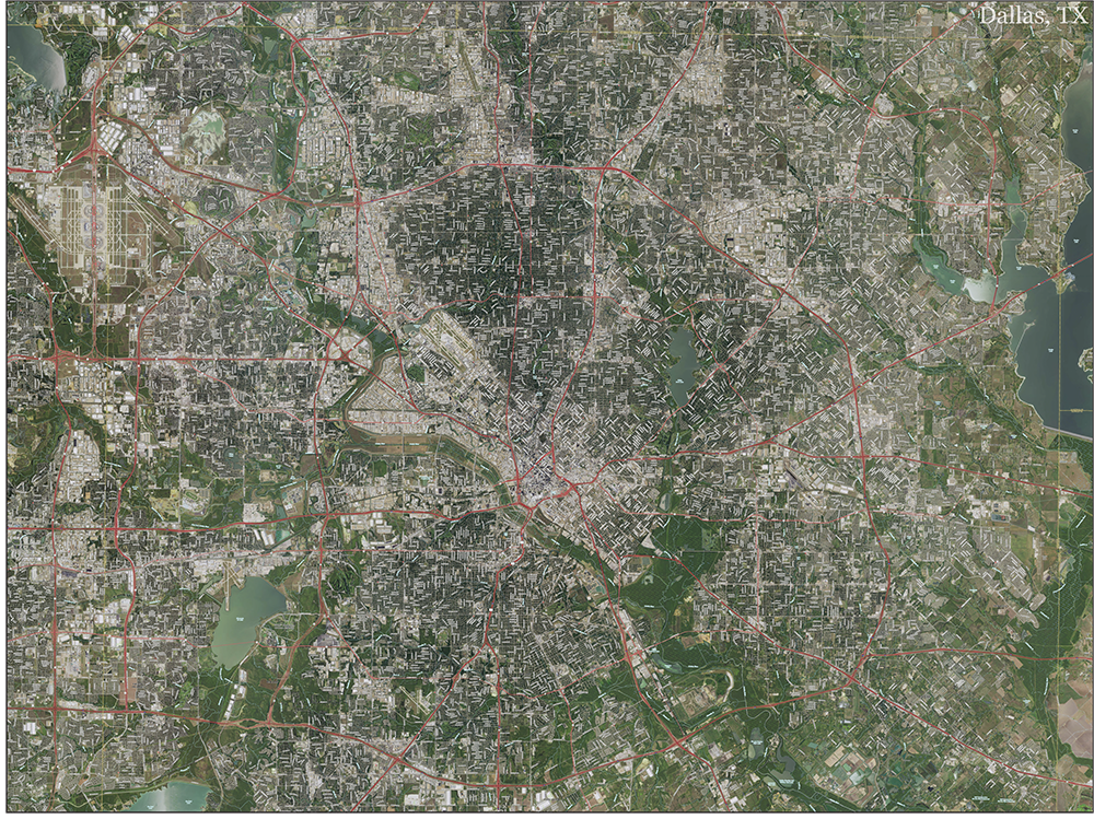 Dallas Topo Map With Aerial Photography