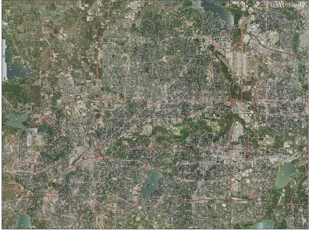 Fort Worth Topo Map with Aerial Photography