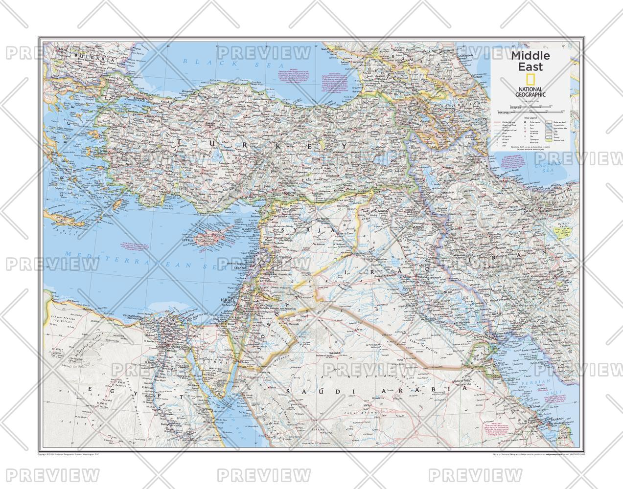 Middle East Map.Middle East Wall Map