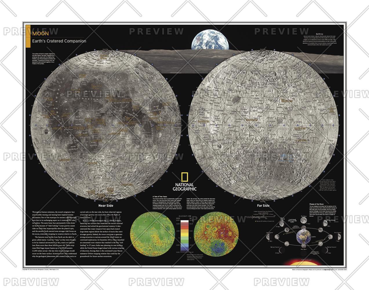 Moon Wall Map