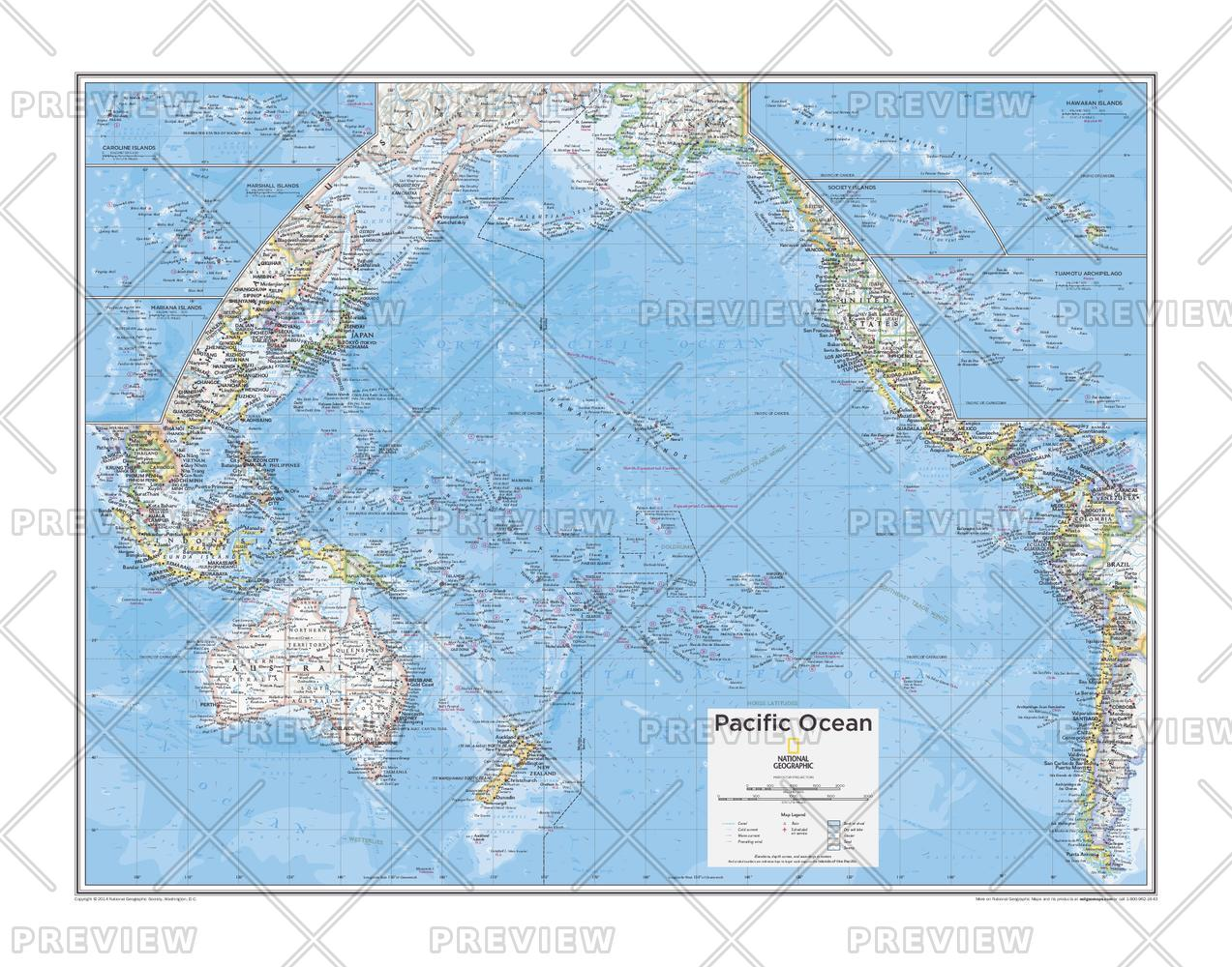 Pacific ocean wall map pacific ocean wall map pacific109 click for a larger view gumiabroncs Image collections
