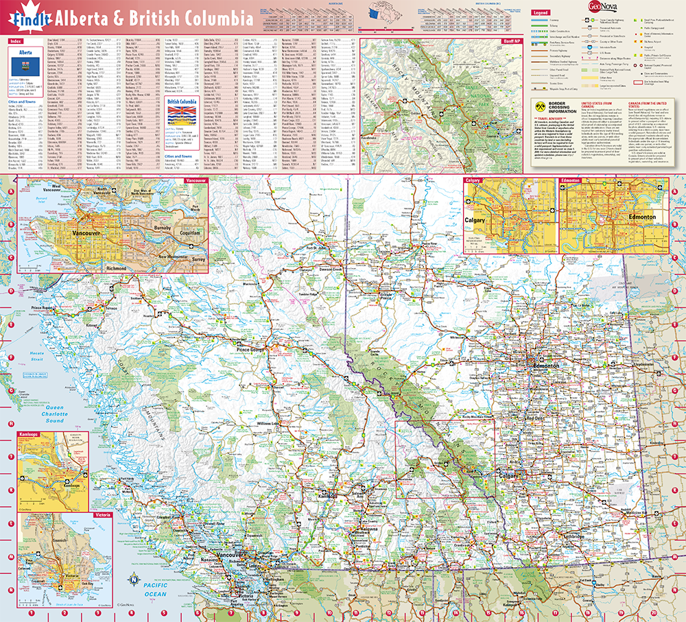 British Columbia Alberta Provincial Wall Map By Globe Turner - Alberta us border crossings map