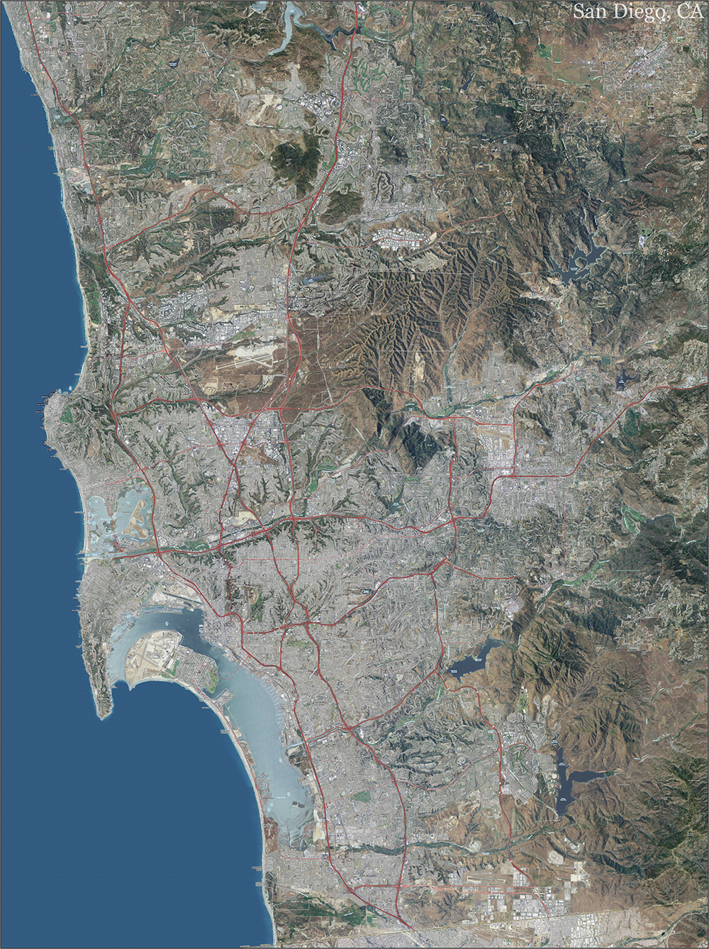 San Diego Topo Map with Aerial Photography