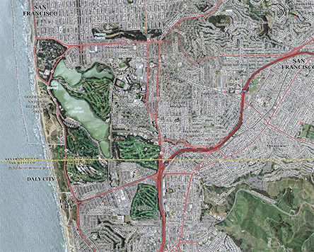 San Francisco Topo Map with Aerial Photography