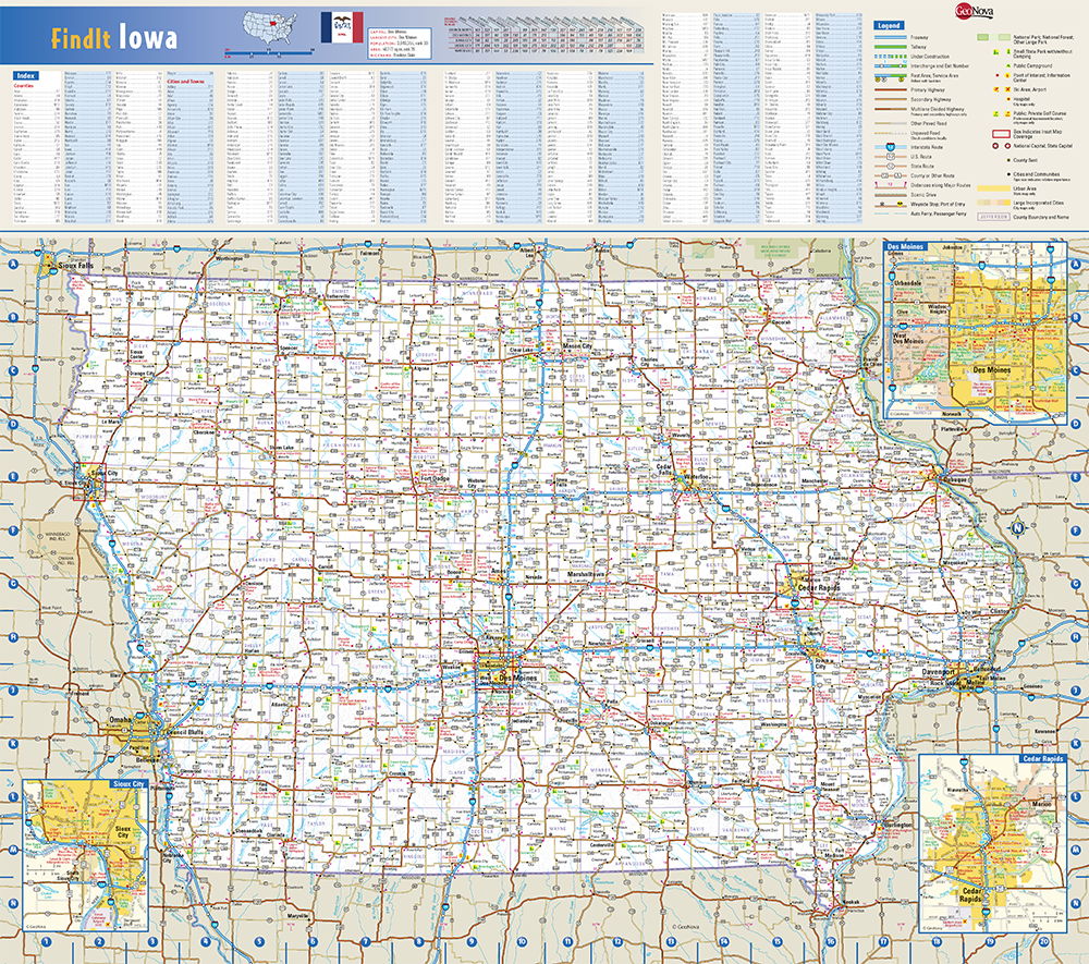 Iowa State Wall Map by Globe Turner