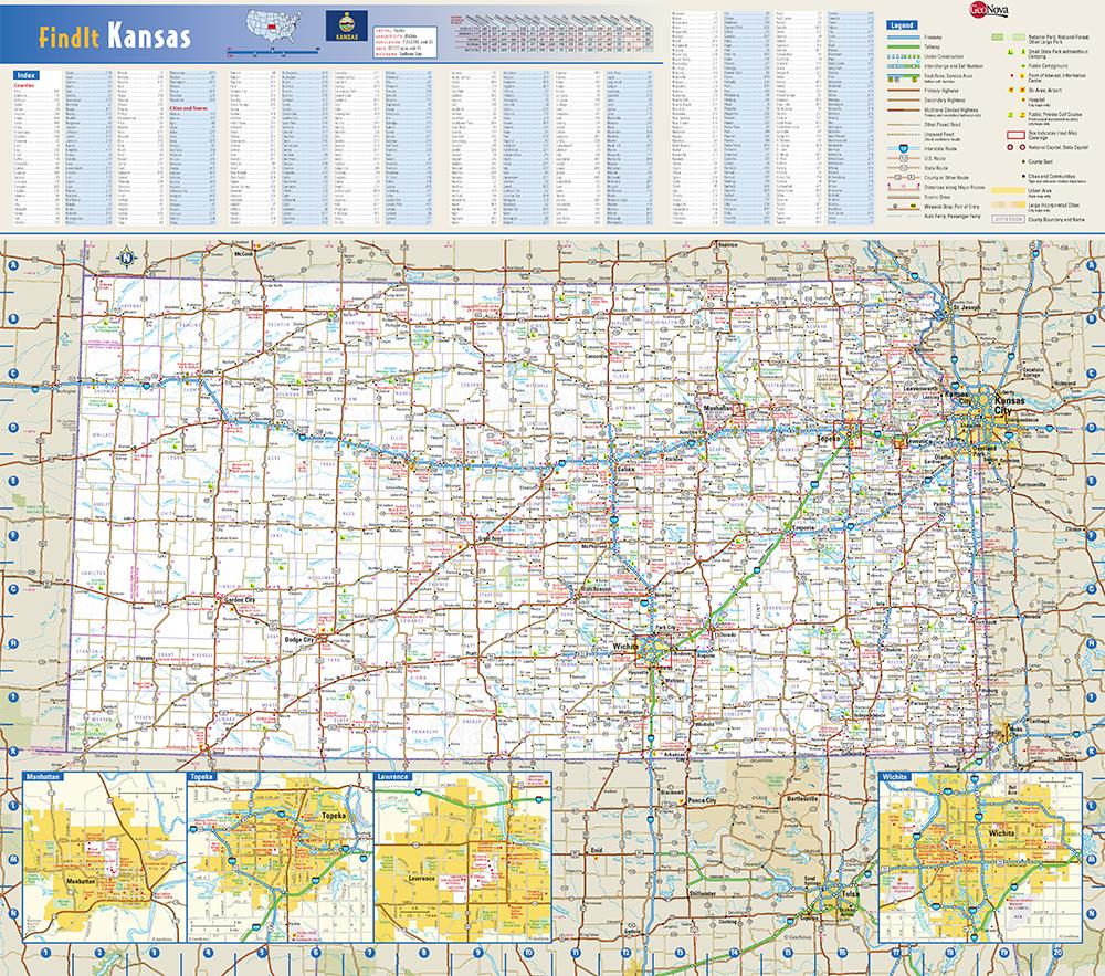 Kansas State Wall Map by Globe Turner