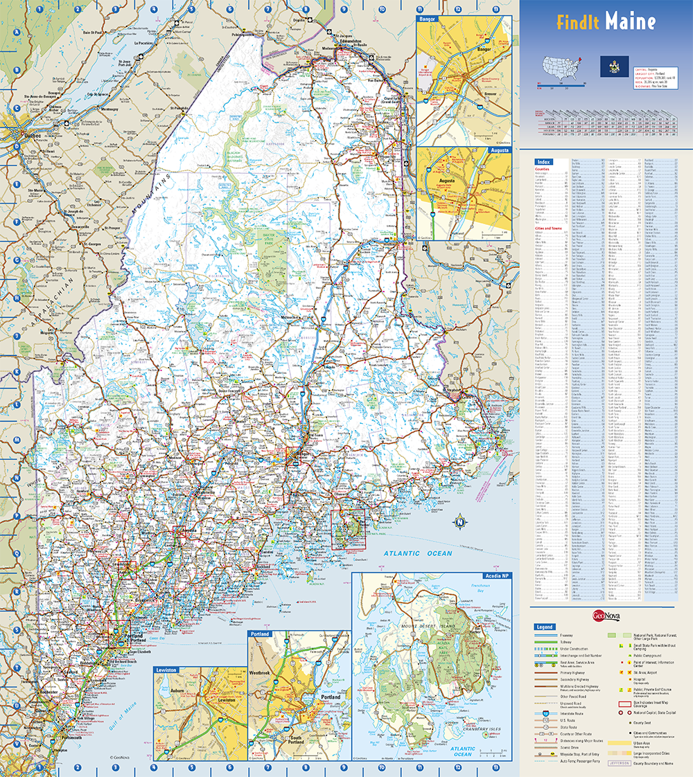 Maine State Wall Map By Globe Turner