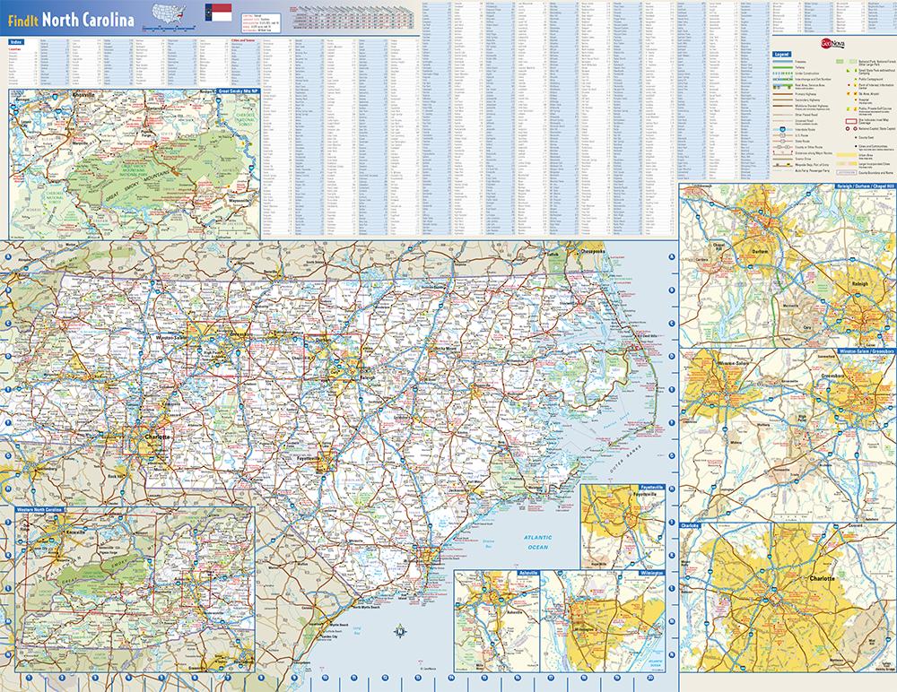 North Carolina State Wall Map by Globe Turner