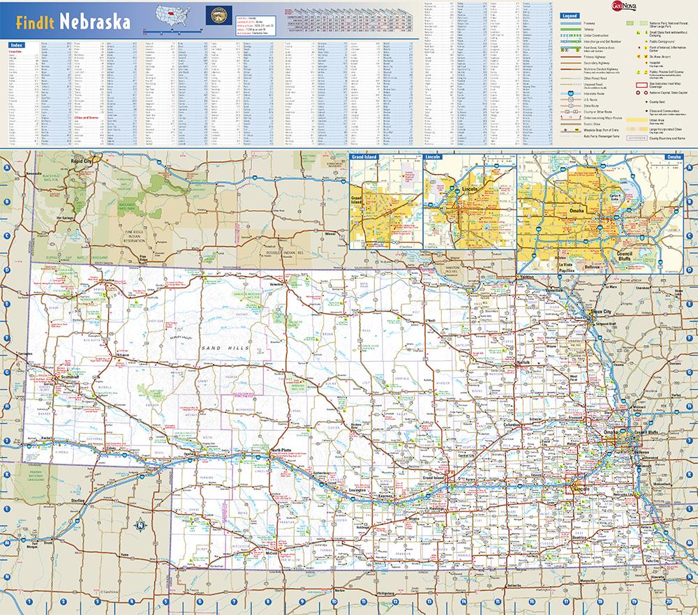 Nebraska State Wall Map by Globe Turner