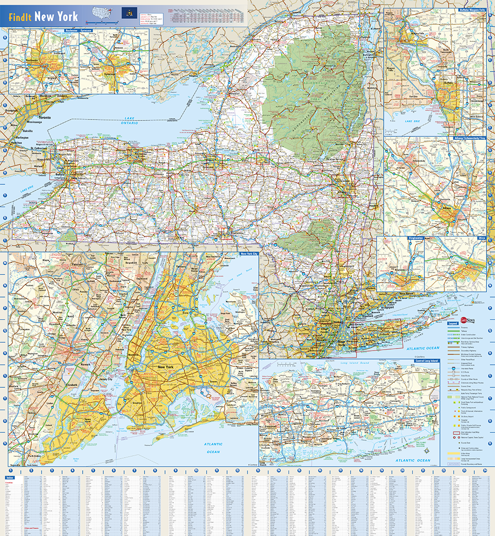 New York State Wall Map by Globe Turner Detailed Map Of New York State on