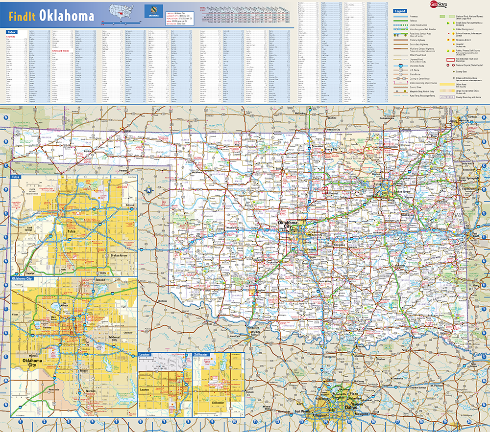 Oklahoma State Wall Map By Globe Turner - Oklahoma-on-the-us-map