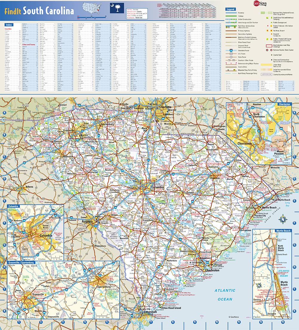 South Carolina State Wall Map by Globe Turner