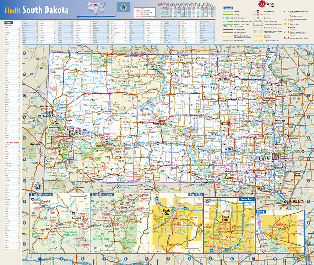 South Dakota State Wall Map By Globe Turner
