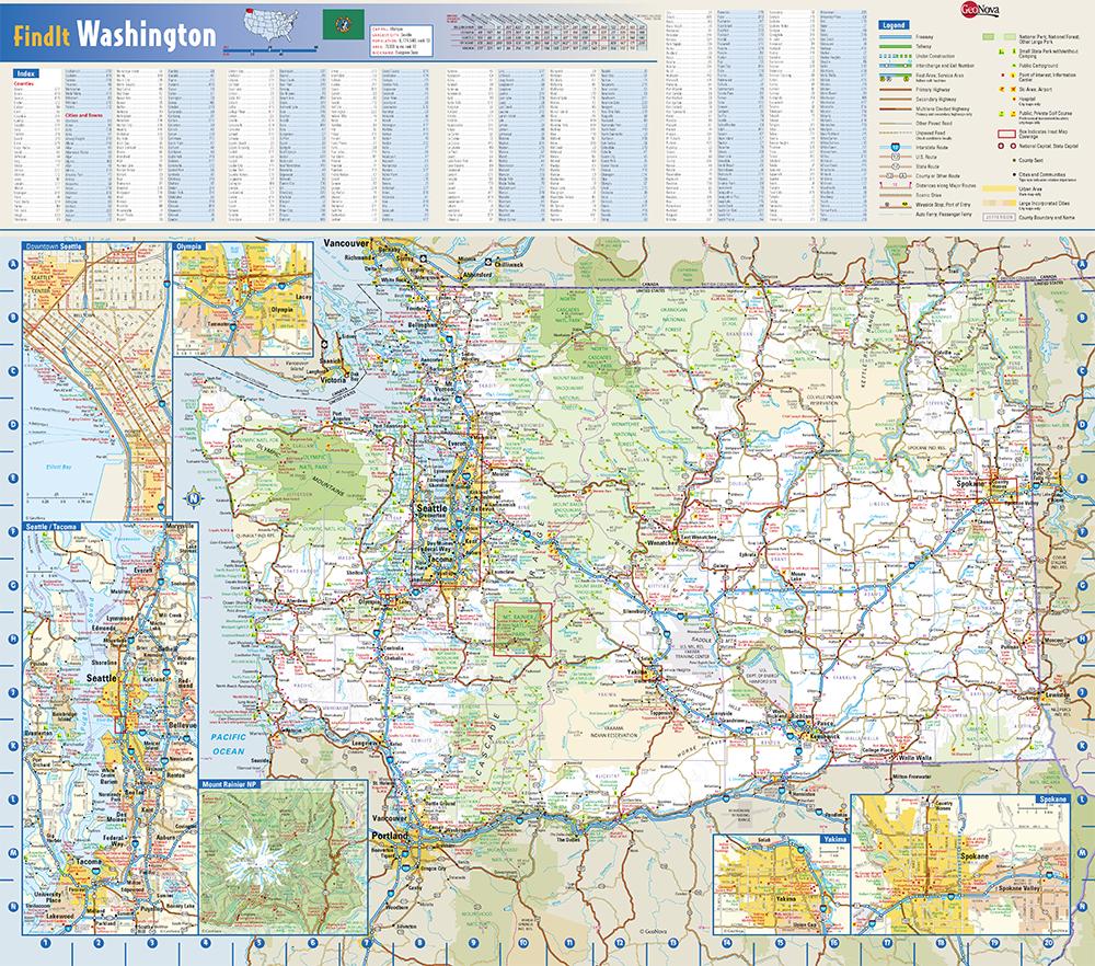 Washington State Wall Map by Globe Turner