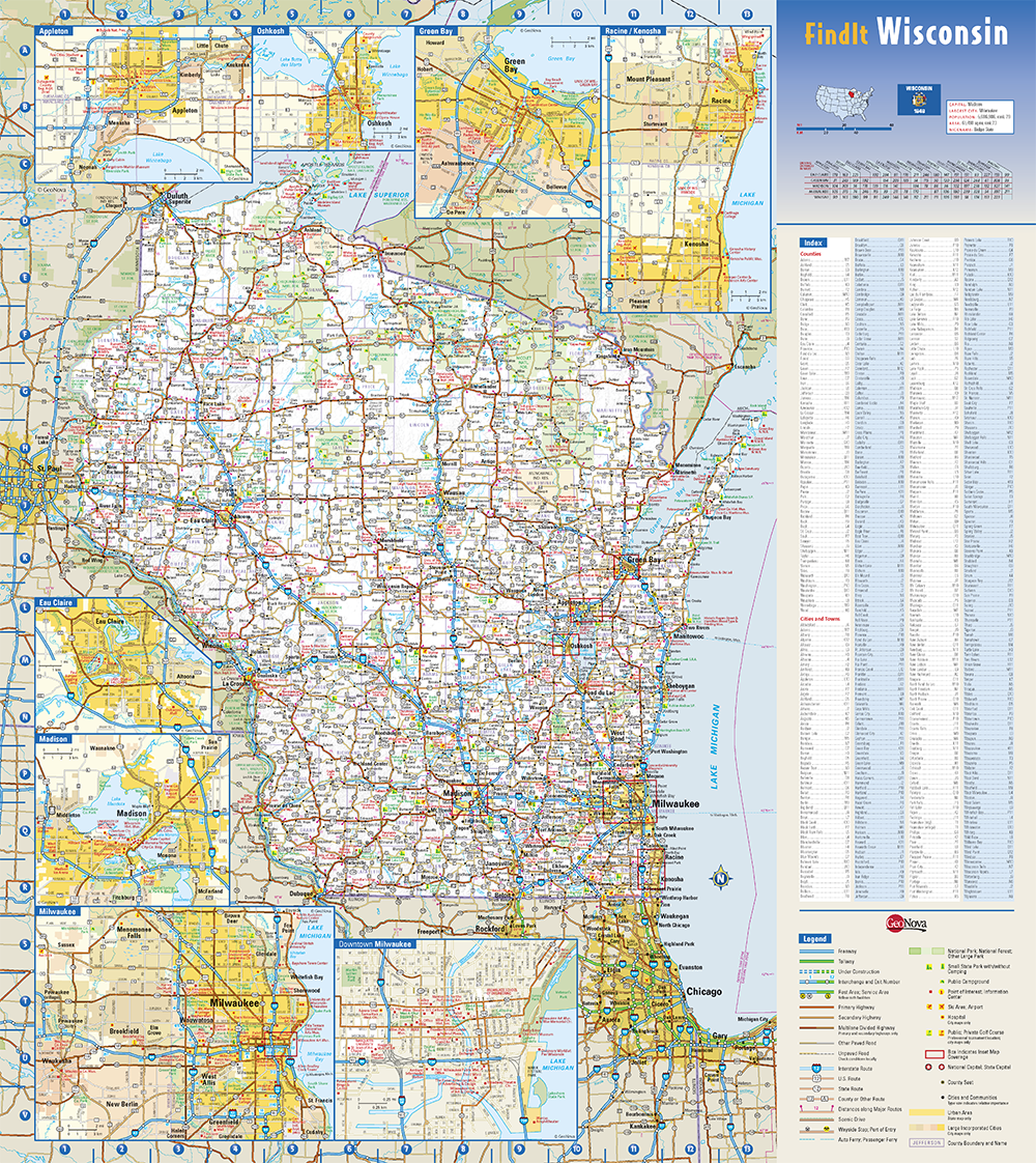 Milwaukee State Map.Wisconsin State Wall Map By Globe Turner