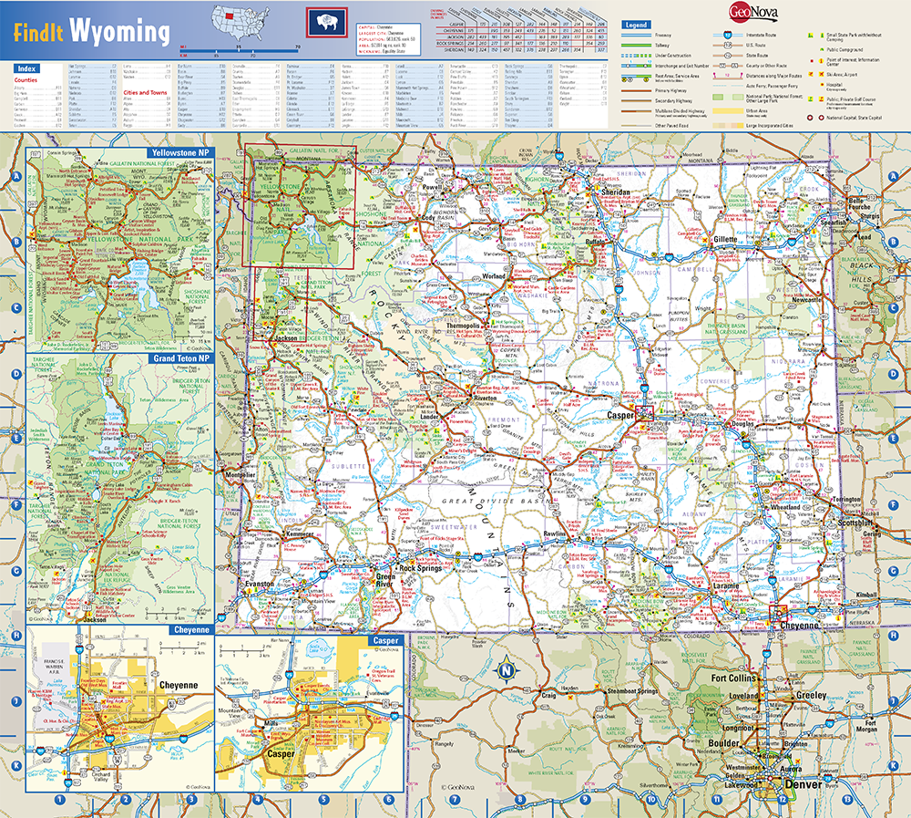 Wyoming State Wall Map by Globe Turner