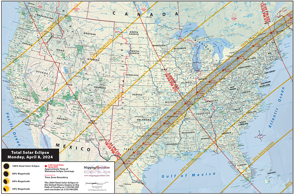 View Map Of United States.2024 Solar Eclipse Wall Map Of The U S