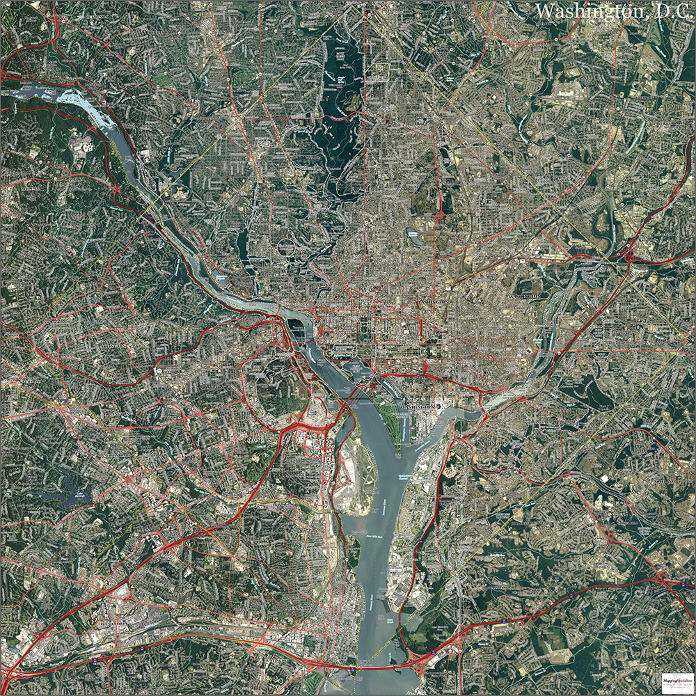 Washington, D.C. Topo Map with Aerial Photography