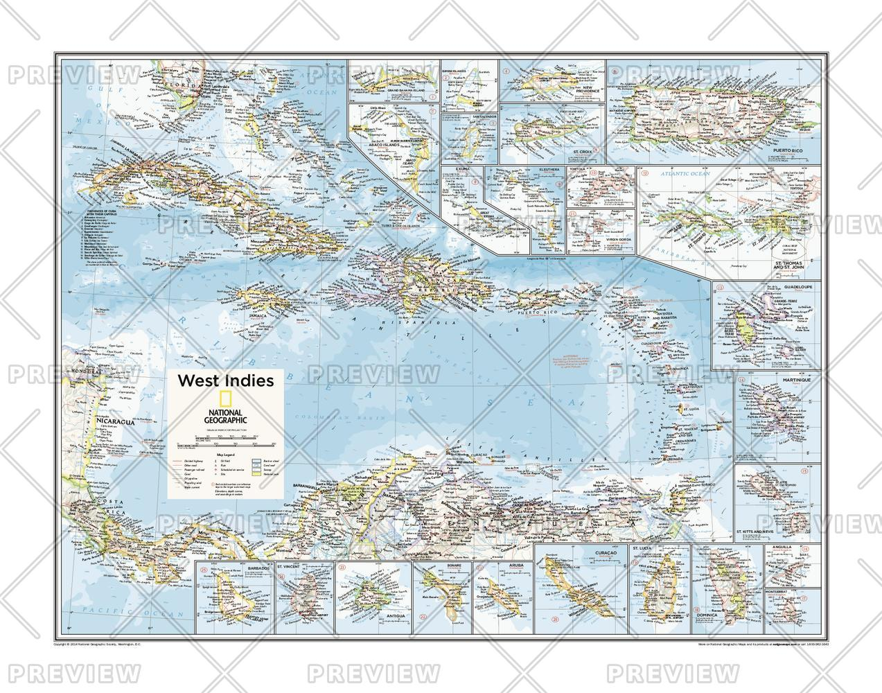 West Indies/Caribbean Sea Wall Map
