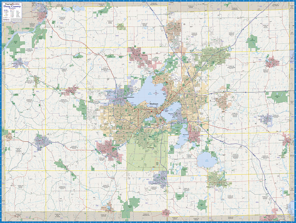 Dane County Wall Map on