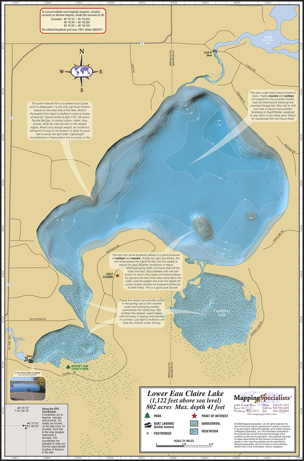 lake eau claire map Lower Eau Claire Lake Fold Map lake eau claire map