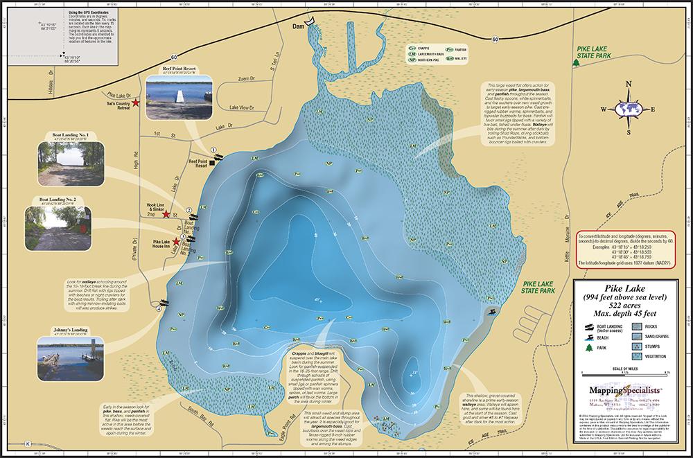 Pike Lake Fold Map - Wisconsin topographic lake maps
