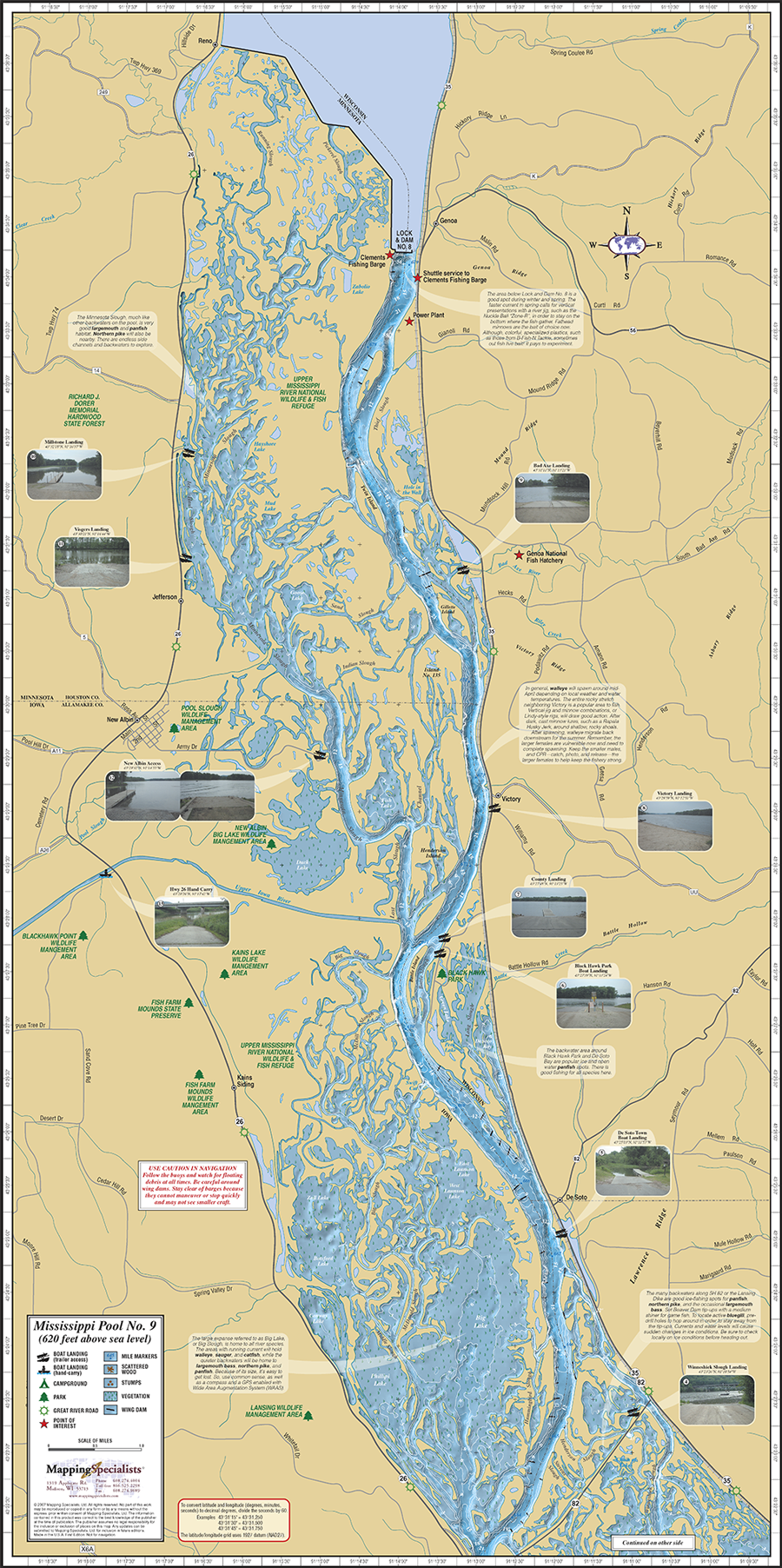 Mississippi River Pool Fold Map - Mississippi maps