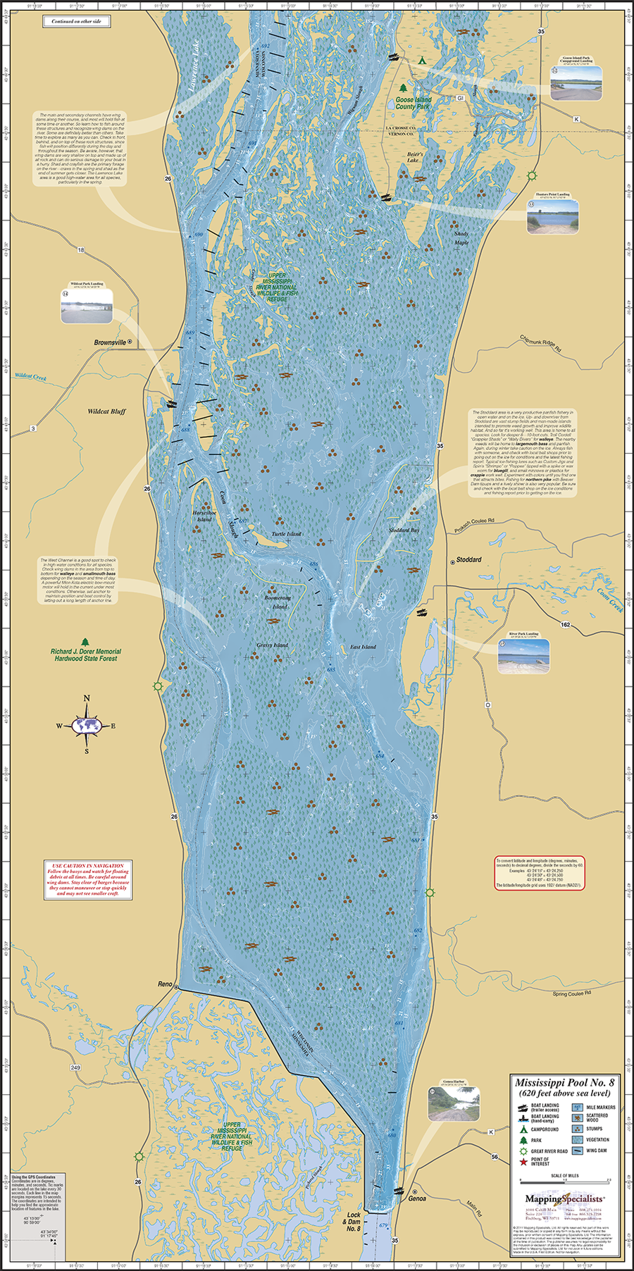 Mississippi River Pool Fold Map - Map of the mississippi river
