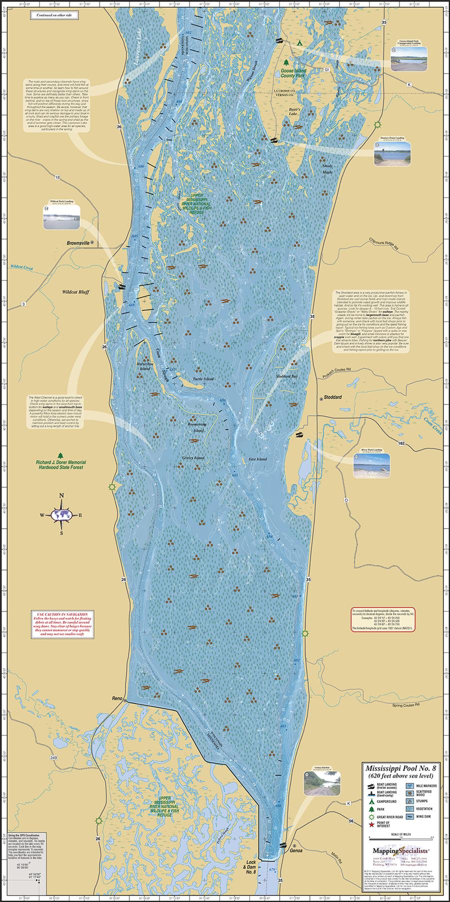 Mississippi River Pool Fold Map - Mississippi river map