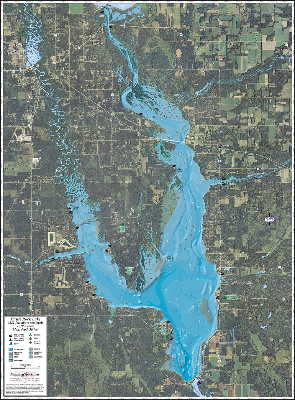 Castle Rock Enhanced Lake Wall Map