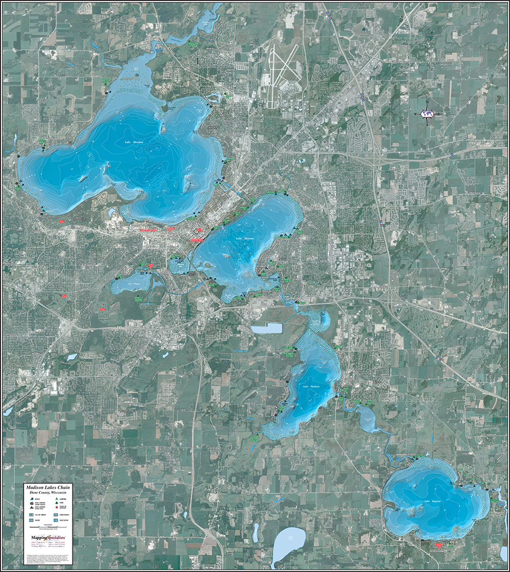 madison chain of lakes map Madison Lakes Chain Enhanced Wall Map madison chain of lakes map