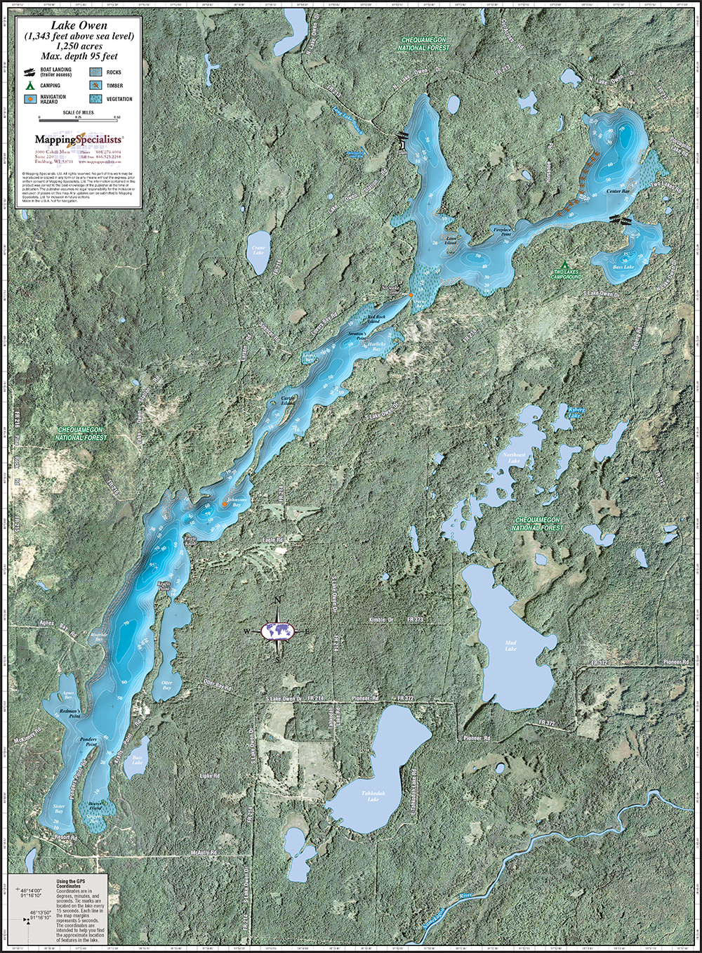 Lake Owen Enhanced Wall Map