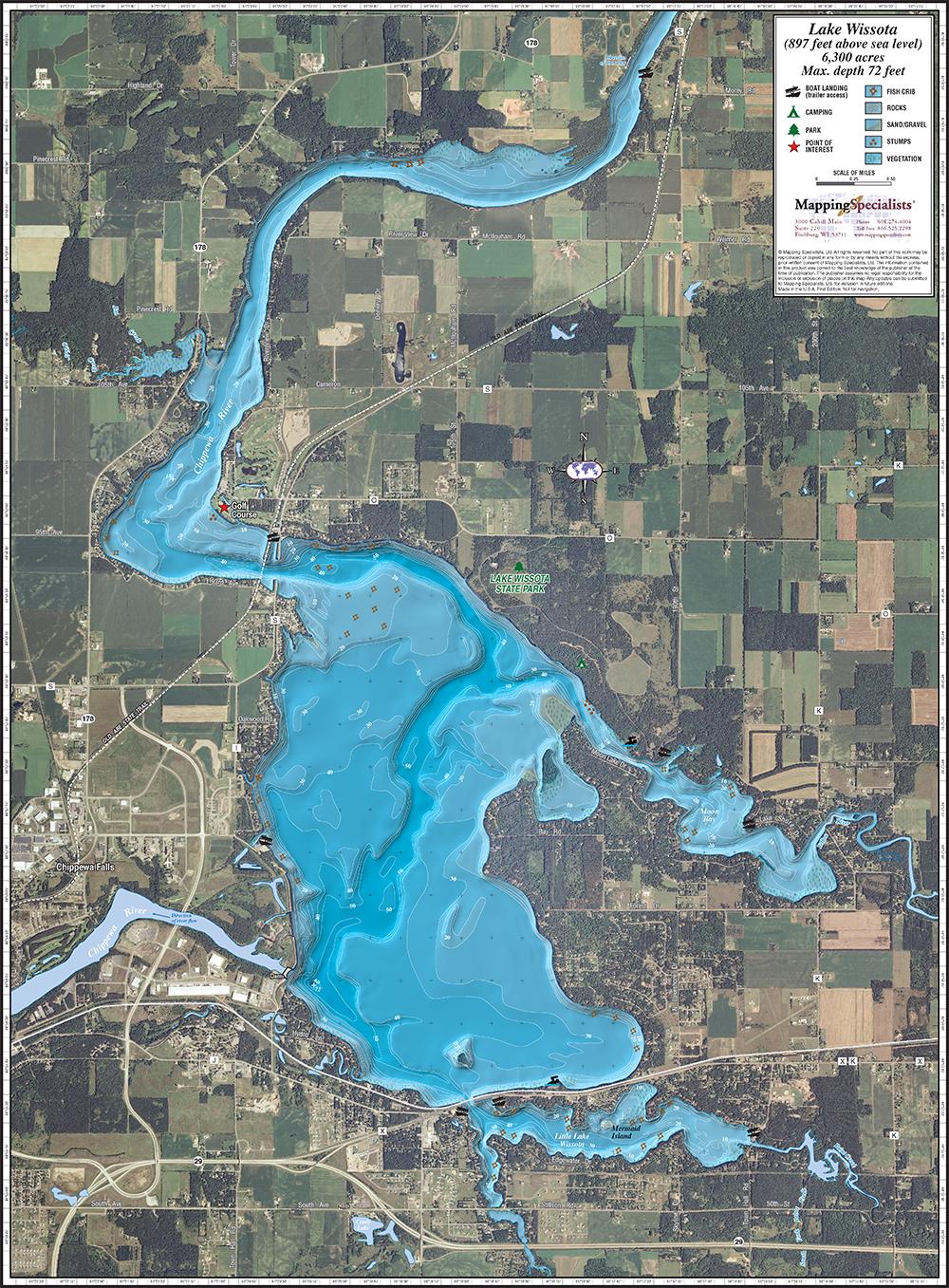 Wissota Fishing Map Chippewa Co Lake