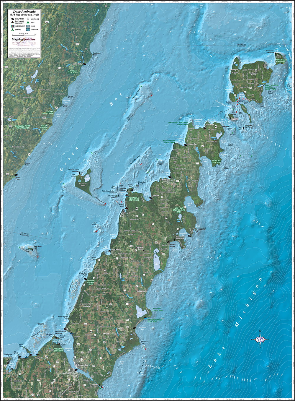 Door Peninsula Enhanced Wall Map on