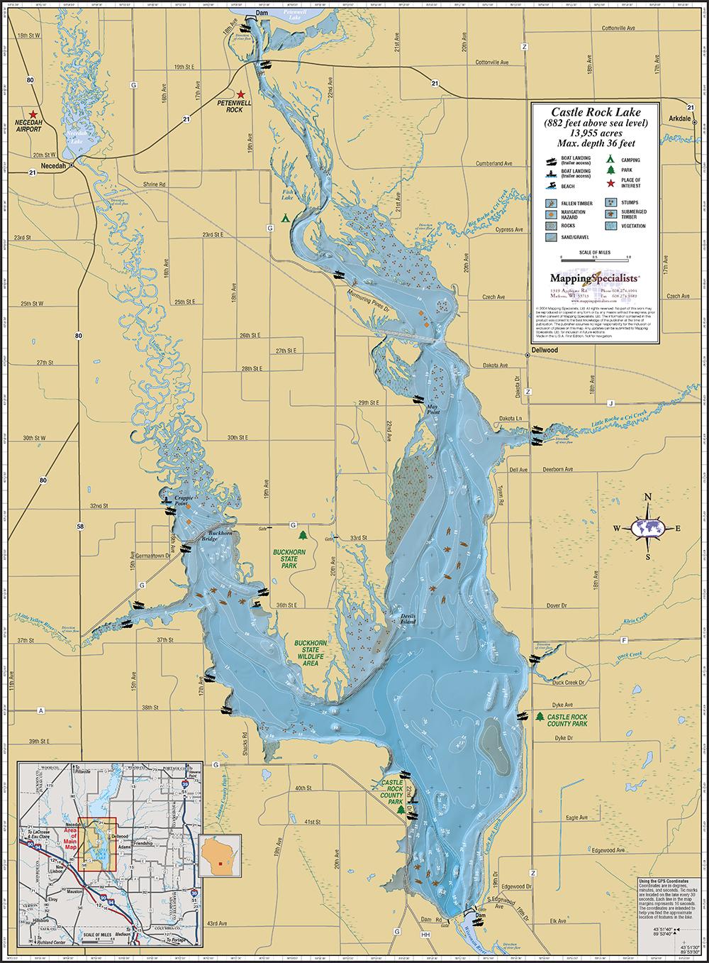 Castle rock lake wall map for Lake wisconsin fishing