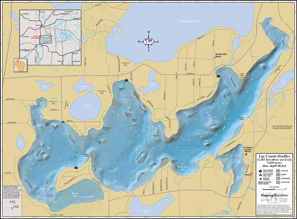 Lac Courte Oreilles Wall Map on