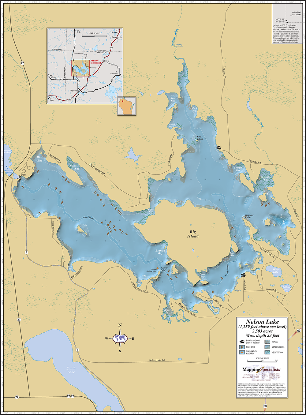 Nelson Lake Wall Map - Wisconsin topographic lake maps