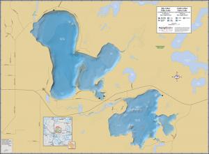 Big & Little Arbor Vitae Lakes Wall Map