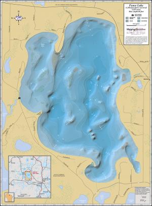 Fence Lake Wall Map