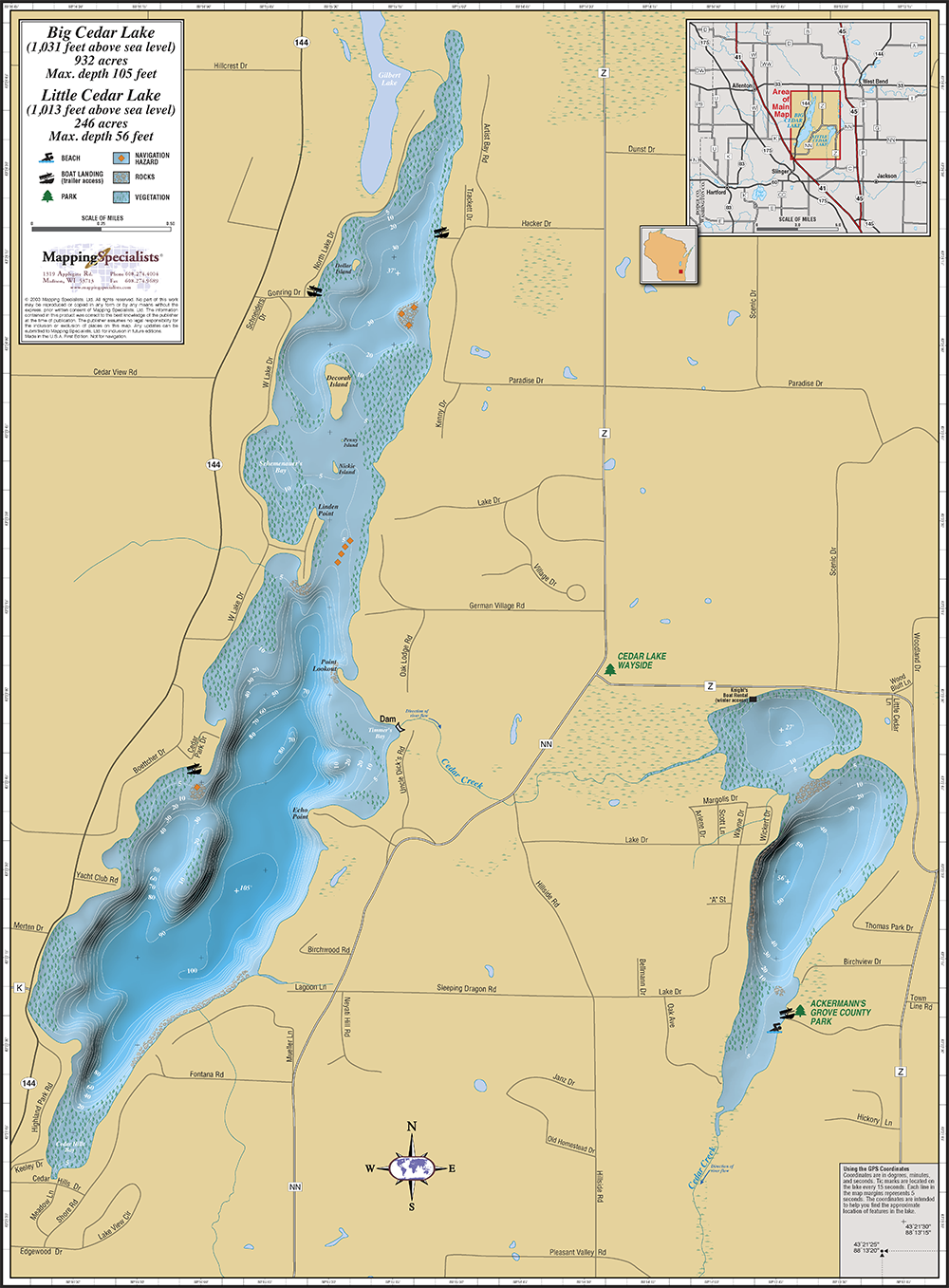 Big Amp Little Cedar Lakes Wall Map