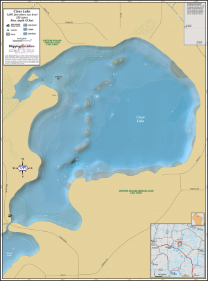 Clear Lake (Manitowish Chain) Wall Map